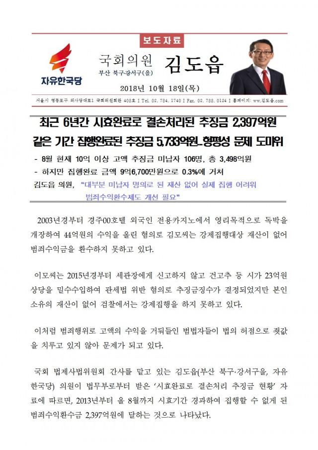20181018_김도읍의원실 보도자료_최근 6년간 시효완료로 결손처리된 추징금 2,397억원001.jpg